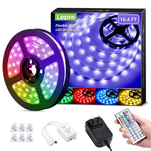 Lepro LED Strip Lights, 16.4ft RGB LED Strip Lights with 44 Keys IR Remote and 12V Power Supply, Flexible Color Changing 5050 150 LEDs Light Strips Kit for Bedroom, Home, Kitchen(16.4ft)