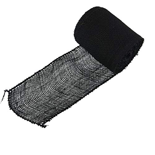 """BambooMN 5.5"""" Inch Wide Color Burlap Fabric Jute Craft Ribbon Roll, 1 Roll of 10 Yards, Black"""