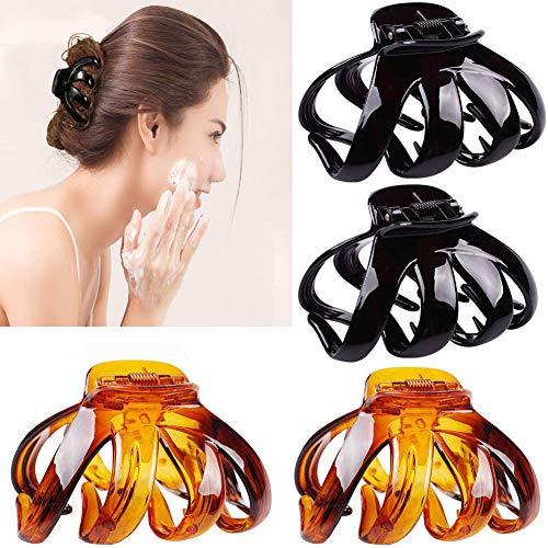 4 Stück Kunststoff Haar Klaue Clips, Große Haarkrallen Clips rutschfeste Octopus Haarkrallen Clip mit Griff Haarspangen Kopfbedeckungen für Frauen Dickes Haar(6.5CM)