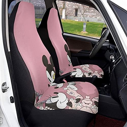 Funda protectora para asiento de coche de Mickey Cartoon Minnie Mouse suave, cómoda y elástica, hecha de poliéster, apta para la mayoría de los coches familiares, 2 unidades