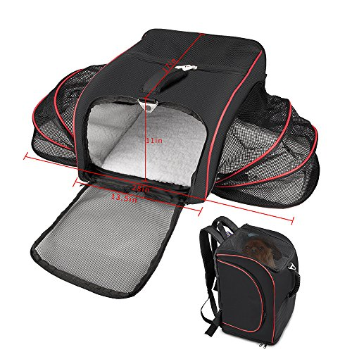 Siivton Airline Approved Pet Carrier, Pet Travel Carrier Backpack Under Seat TWO SIDE Expansion Portable Soft Sided Air Travel Bag for Cats, Dogs, Small Animal Carrier