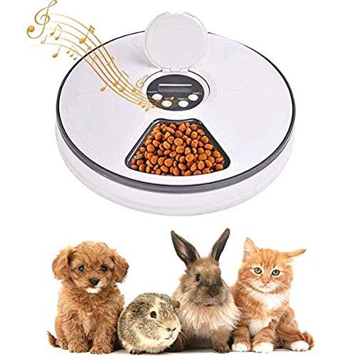 Lacyie Comedero Automático para Perros y Gatos, Dispensador de Comida automático con Temporizador, 6 Dispensador de Alimentos Secos y húmedos para Perros, Gatos, Conejos y Mascotas Pequeñas