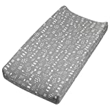 HonestBaby Organic Cotton Changing Pad Cover, Pattern Play Gray Heather, One Size