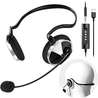 Newaner Cuffie USB/3.5mm Cablate per PC con Microfono cancellazione rumore controllo volume, auricolare con filo, wired headset per Skype Telefono Seminario Web Chiamare Chat Conference Call Center