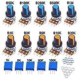 GTIWUNG 10Pcs Potenciómetro B1K-B1M Ohm, Lineal Cónico Rotativo Potenciómetro Kit, 3 Terminales Potenciometro de B-Tipo Estéreo Audio Potenciómetro,5Pcs 3296W Trimmer Potenciómetro(1K,5K,10K,50K,100K)