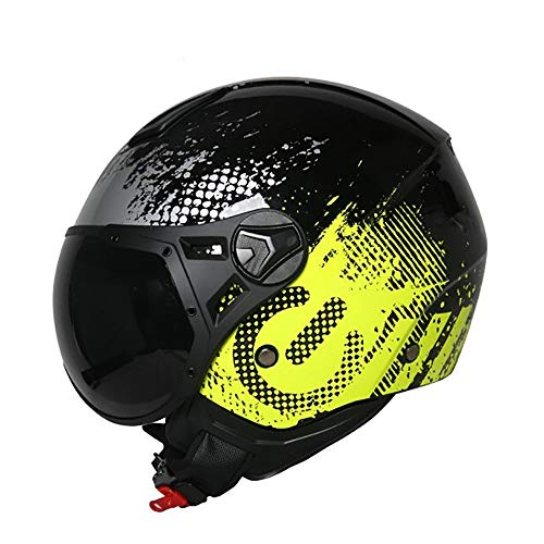 YAUUYA Open gezichtshelm motorfiets 3/4 jet vliegtuigen helm ECE certificering hoofdbeschermer botsing type chopper cruiser semi-gevormde vlotter met zonneklep volwassen unisex, L/XL/XXL