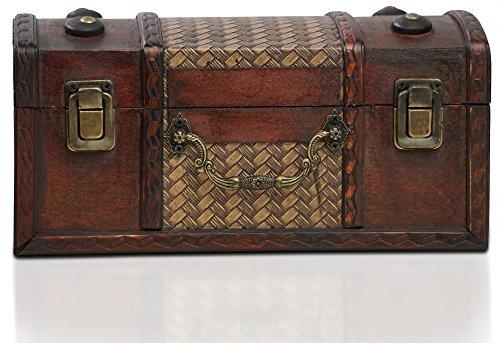 Brynnberg - Caja de Madera Cofre del Tesoro Pirata de Estilo Vintage, Hecha a Mano, Diseño Retro 25x12x12cm