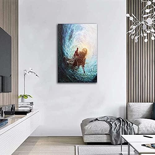 Jesus reaching into water painting _image1