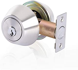 Double Cylinder Deadbolt Keyed on Both Sides, 2-Way Adjustable Deadbolt, Satin Nickel