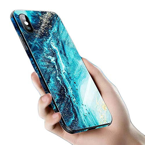 """Cocomii Flat Edge Glass Marble iPhone Xs/iPhone X Case, Slim Glossy Soft TPU Silicone Rubber Tempered Glass Back 360° Chamfered Rim Bumper Cover Compatible with Apple iPhone Xs/X 5.8"""" (Ocean Green)"""