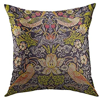 Printed Throw Pillow Cover 20 X 20 Inch Vintage William Morris Strawberry Thief Floral Victorian Easter Day Throw Pillows Jewel Tones Standard for Chair Girls Couch Bed Couch Sofa Babies Bedroom