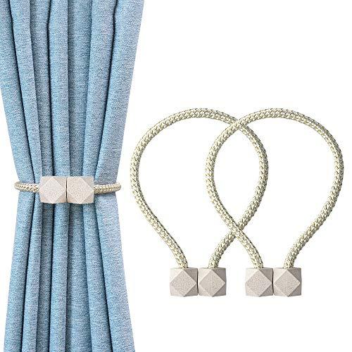 OTHWAY Magnetische Vorhang Raffhalter, 2 Stück Vorhang Clips Seil Rückwärtige Vorhang Halter Schnallen Vorhang Binder Gardinenhalter für Haus Dekoration (Linght Beige)