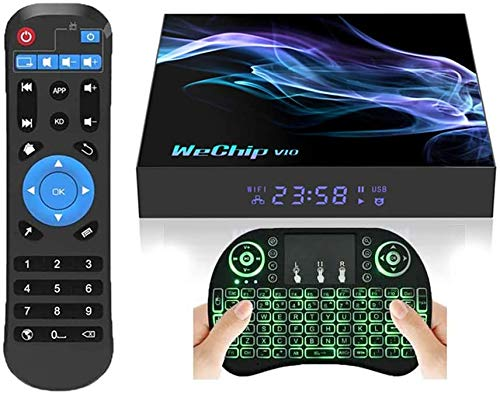 Android 10.0 TV Box,Android TV Box 4GB RAM 32GB ROM with Allwinner H616 Quad-Core 64bit,Supports 2.4G/5GHz Dual WiFi/BT5.0/ 6K/4K Ultra HD/3D/ H.265 Smart Android TV Box with Backlic Keyboard