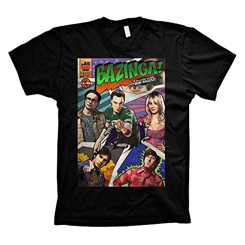 Offizielles Lizenzprodukt TBBT Big Bang Theory - Bazinga Comic Cover T-Shirt (Schwarz), Large