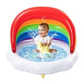 Sloosh Inflatable Sprinkler Baby Pool with Canopy Rainbow Kiddie Pool, Wading Pool for Learning,Infant Water Pool Toys,Outdoor Swimming Pool for Kids