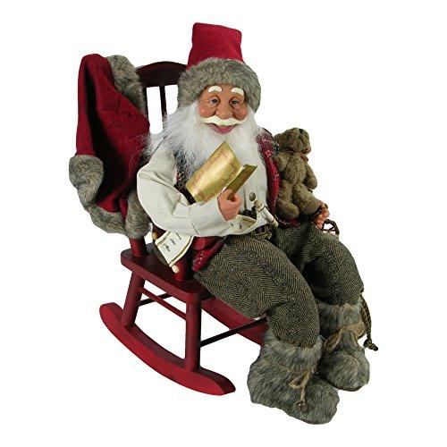AUTOUR DE MINUIT 5SUJ480 Père Noël sur Chaise à Bascule, Plastique, Multicolore, 38 x 30 x 39 cm