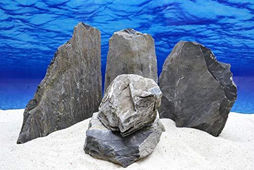 Pro Kiste Aquarium Deko Messerstein grau schwarz Natursteine 4,5-5,5 Kg Felsen Nr.50 flach Pagode Aquascaping