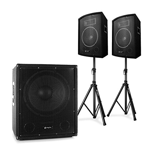 Skytec 2.1 - PA DJ Set, aktiver PA Suboofer mit Bi-Amp und 25cm PA-Lautsprecher Paar, inkl. Stativen, 600W Subwoofer, 2 x 2550W PA-Satelliten-Lautsprecher, Transporttasche, schwarz