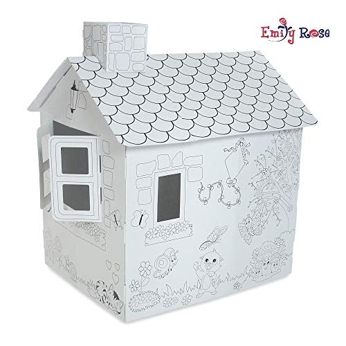 Emily Rose Doll Clothes Incredible Dollhouse or Kid's Play House, Ready to Paint and Decorate | Great Party Activity! (Country Cottage)
