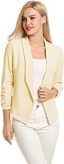POGTMM Women 3/4 Sleeve Blazer Open Front Cardigan Jacket...