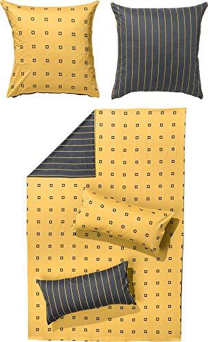 Erwin Müller Satin-Bettwäsche, Wendebettwäsche, 100% Baumwolle gelb-anthrazit Größe 135x200 cm (80x80 cm) - atmungsaktiv, temparaturausgleichend, mit Reißverschluss (weitere Farben, Größen)