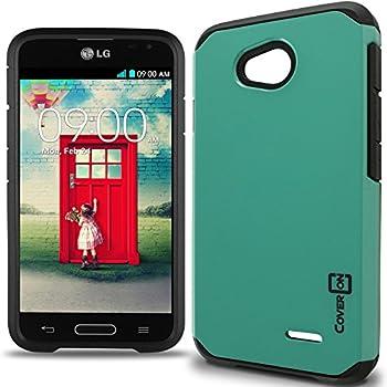 LG Optimus L70 Case Optimus Exceed 2 Case CoverON [Slim Guard Series] Slim Dual Layer Armor Hard Cover Thin TPU Phone Case for LG Optimus L70 / Exceed 2 - Teal & Black