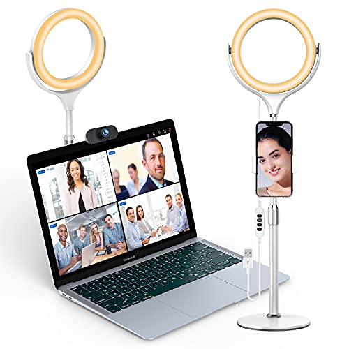 Elitehood 8'' Ring Light for Computer & Video Conference Lighting Kit, Desk LED Circle Light with Stand & Phone Holder for Zoom Call Lighting, Webcam Camera Meeting, Office Laptop Video Conferencing