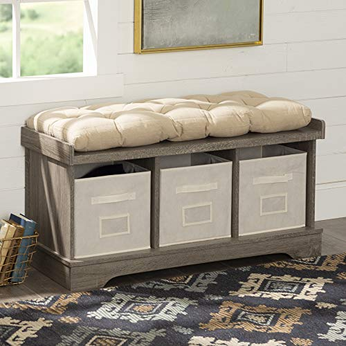 """WE Furniture 42"""" Wood Storage Bench with Totes & Cushion, Driftwood"""
