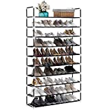 TECHMILLY 10 Tiers Shoe Rack Organizer, Tall Shoe Shelf for 50 Pairs, Vertical Non-Woven Fabric Shoe Storage Cabinet for Entryway (Black)