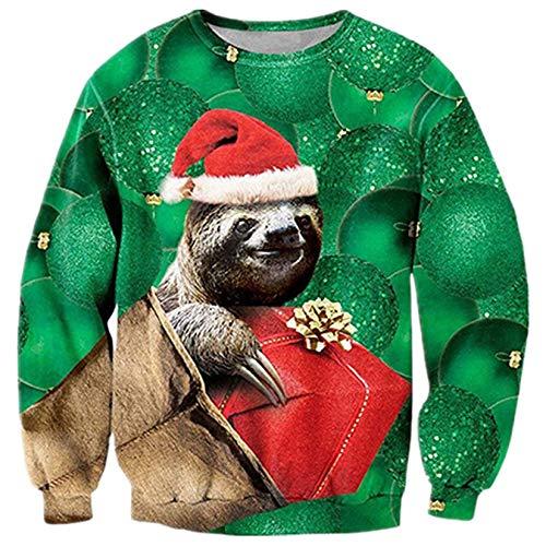 ALISISTER Hässliche Weihnachtspullover Realistische 3D Neuheit Tier Faultier Muster Xmas Pullover Sweatshirt Rundhalspullover für Erwachsene Jungen Mädchen XXL