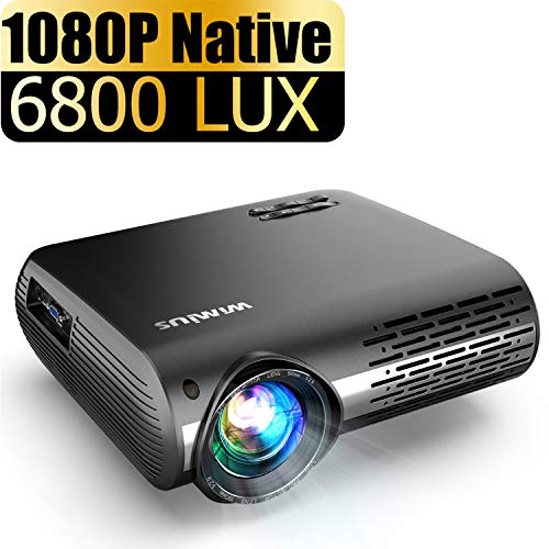 Projector, WiMiUS Upgrade 6800 Lumens Projector Native 1920x1080 Video Projector Support 4K Netflix 200'' Display, 4D ±50° Keystone Correction, Zoom Function for Movies and PPT Presentation