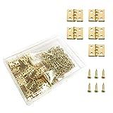 Juland 50 Stücke Mini Pure Copper Scharniere Retro Messingscharniere mit 200 Stück Nägel für...