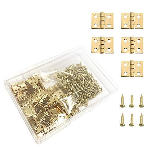 Juland 50 Piezas Mini bisagras de cobre puro latón retro con tornillos de repuesto de 200 piezas para caja de madera Cofre para joyas Gabinete de bricolaje (10 x 8 mm / 0.4 x 0.3 pulgadas)