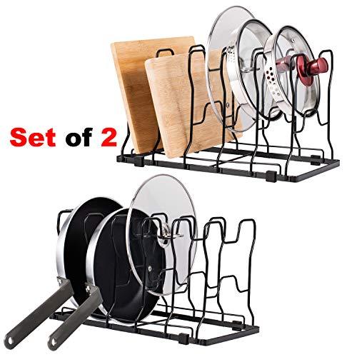 HAITRAL - Soporte para sartenes, juego de 2 organizadores de sartenes, divisores ajustables, apto para todas las cocinas, armarios de encimeras, utensilios de cocina, color bronce negro