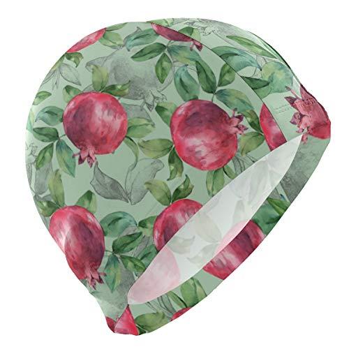 ALINLO Gorro de natación con diseño de Fruta Granada, Gorro de natación, Impermeable, para baño, Ducha, para Adultos, Hombres, Mujeres, jóvenes y niños