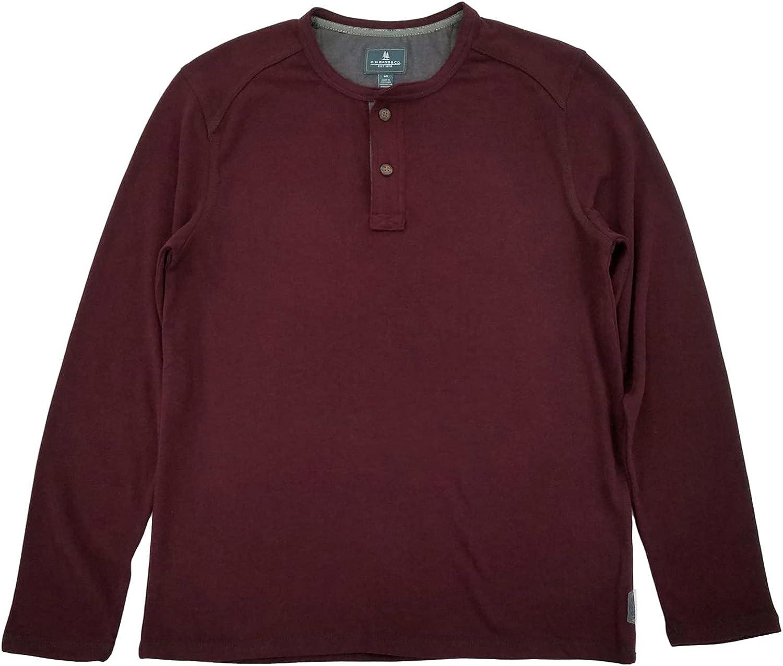G.H. Bass & Co. Mens Burgundy Heather Jersey Henley Long Sleeve Shirt