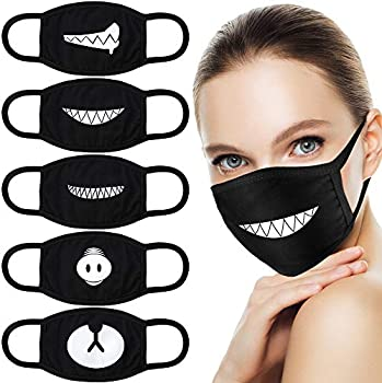 5-Pack Hnyyzl  Teeth Pattern Cute Unisex Cotton Blend Anti Dust Face Mask