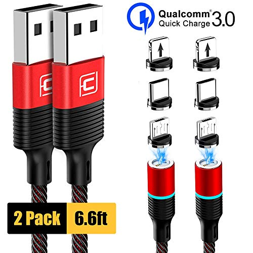 Magnetic Charging Cable, CAFELE 2 Pack/6.6ft 3 in 1 Magnetic Phone Charger Universal QC 3.0 Fast Charging Data Sync Nylon Braided USB Cord Magnet Phone Charger for iOS Micro USB Type C Devices - Red