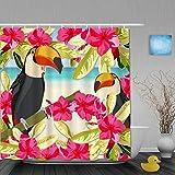 ShopHM Cortina de Baño,Ocean Parrot Summer Bird Pareja en Flores Mirando Mar Playa Romance,Cortinas de Ducha con 12 Ganchos de plástico 180 * 180cm