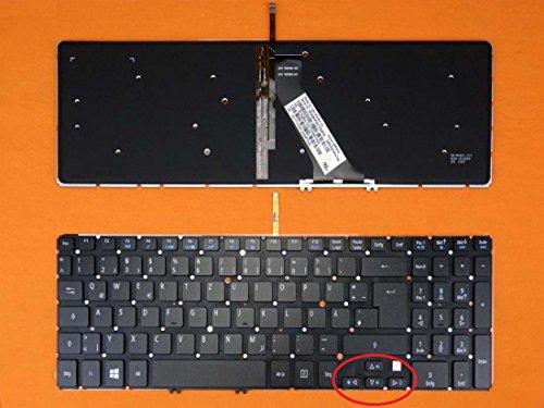 kompatibel für Acer Aspire M3-581TG-52464G52Mnkk Tastatur - Farbe: schwarz - mit Beleuchtung, ohne Rahmen - Deutsches Tastaturlayout