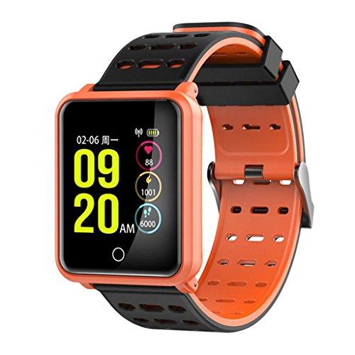 MKJYDM Smart Armband N88 Herzfrequenz Blutdruck WeChat Informations Telefon Display IP68 Wasserdicht Smartwatch (Color : Red)