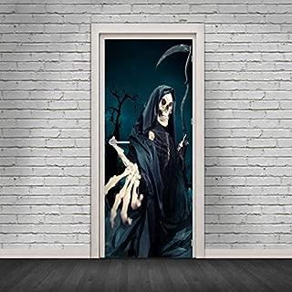 TYHON Door Mural Halloween Ghost Door Sticker Peel and Stick Wallpaper Door Decal Horrible Skull Adhesive Room Decors Removable Home Decoration 35.5x78.8 inches