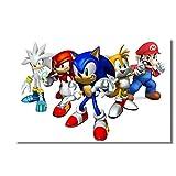 Juego de Mario Pegatinas de pared Lienzos Murales de pared Sonic The Hedgehog Poster Super Smash Bros Wallpaper Sonic Decoration60x90cm