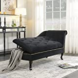 BELLEZE Velveteen Button Tufted Storage Spa Chaise Lounge Chiar Couch for Bedroom Living Room Fold Open Lid, Black