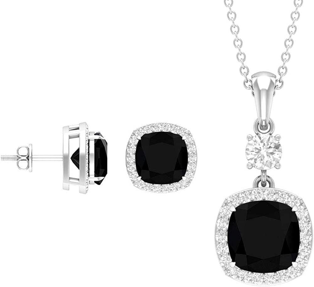 Rosec Jewels - Pendant Earring Sets with 6.3 CT Black Spinel, 0.9 CT D-VSSI Moissanite Jewelry Set (AAA Quality)