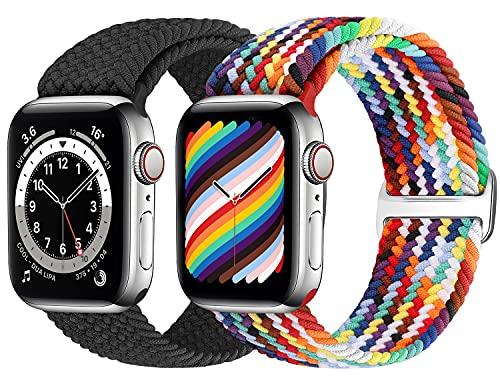 Runostrich Geflochtenes Solo Loop Armband Kompatibel für Apple Watch 44mm 42mm 40mm 38mm, Gewebtes Dehnbarer Ersatzarmbänder Kompatibel mit iWatch Series 6/5/4/3/2/1/SE Herren Damen