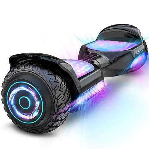 """Hoverboard Self Balancing Scooter 6.5"""" SUV Hoverboard mit Bluetooth-Musiklautsprecher & Bunte LED Lichter Premium Offroad Hoverboard von 20-120kg Belastet 500W Schwarz"""