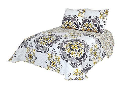 Montse Interiors Colcha Boutí Reversible Flores Mandalas+Cuadrantes (Casablanca, 230x260+2 cuadrantes (para Cama de 135/150))