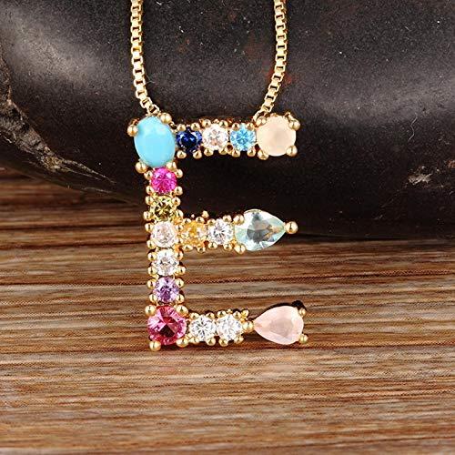 WDam Collar con Inicial de Color Dorado, Colgante con Letra, Nombre para Mujer, Accesorios, Mejor Regalo para Novia, M