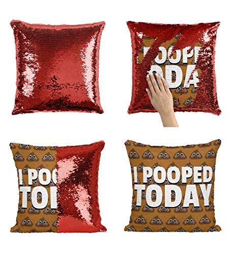 I Pooped Today Full Emoji Poop_005769 Sequin Pillow, Funny Pillow, Sequin Reversible Pillow, Kissenbezug Kissen, Décor, Gift for Him Her, Birthday Christmas Halloween, Present (Kissen + Einsatz)